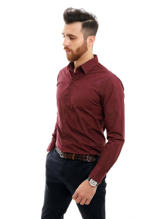 TAILORED-FIT SHIRT-BURGUNDY