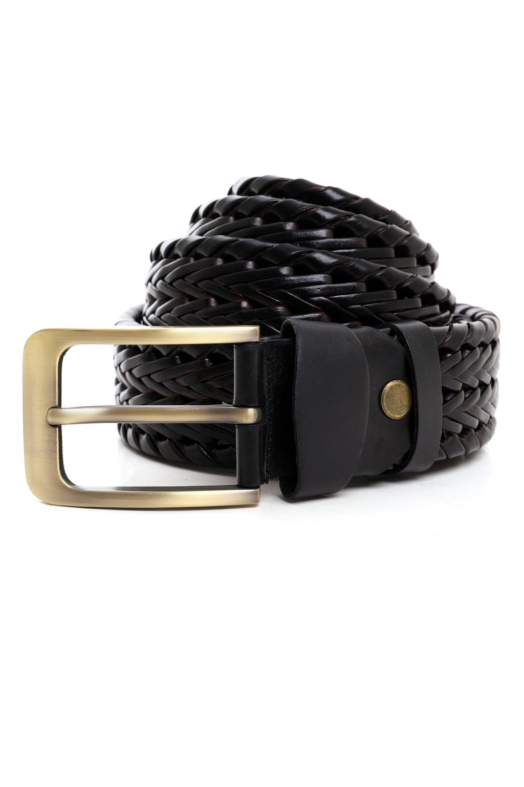 BASKET WEAVE BELT-BLACK
