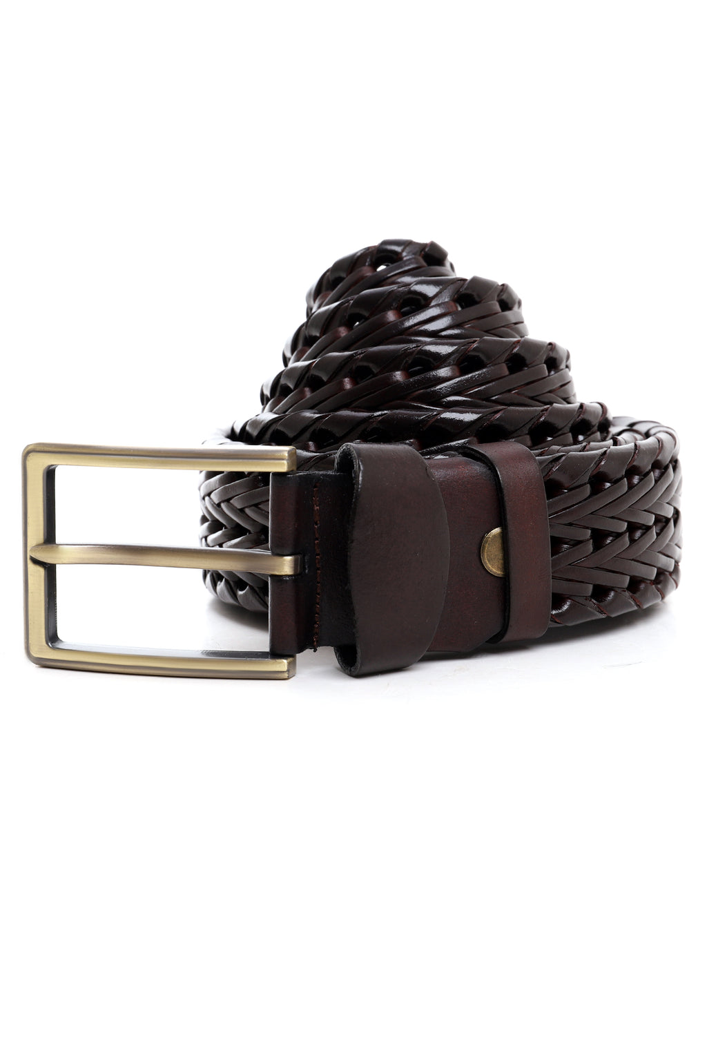 BASKET WEAVE BELT-COFFEE