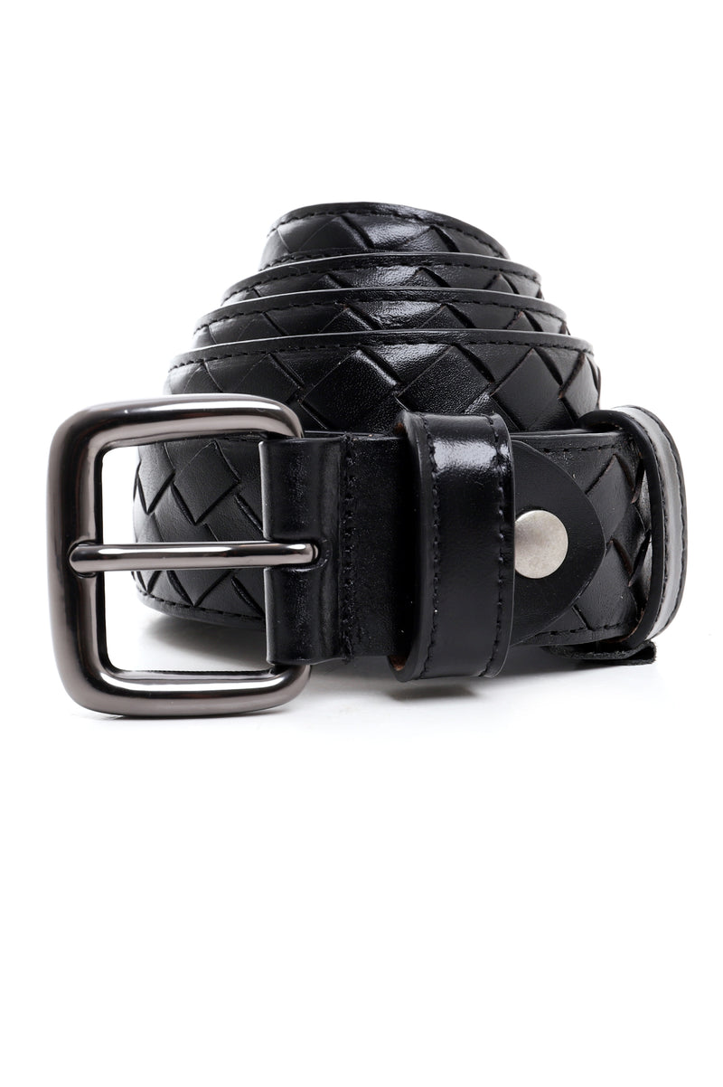 LEATHER WEAVE BELT-BLACK