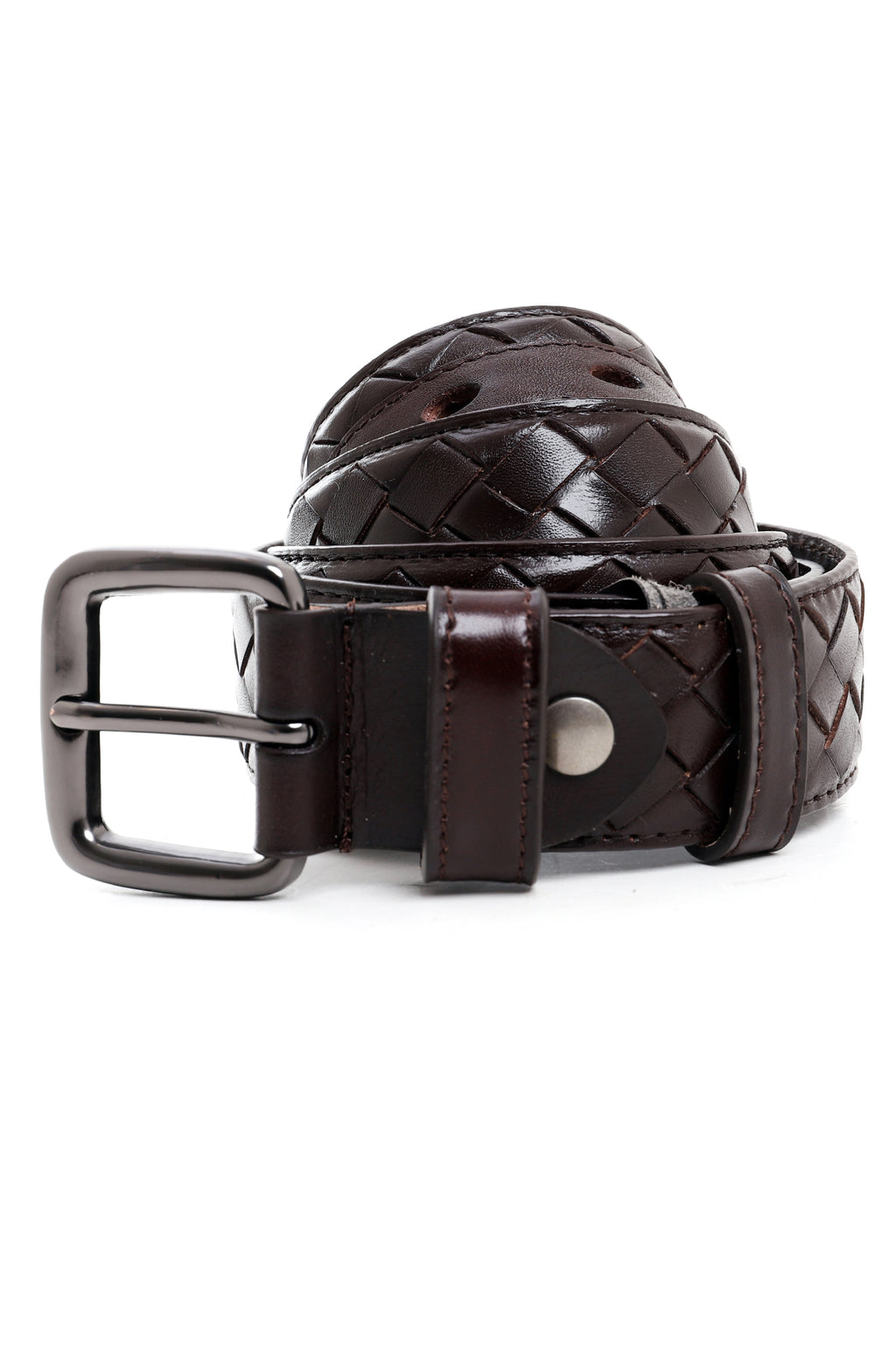 LEATHER WEAVE BELT-COFFEE