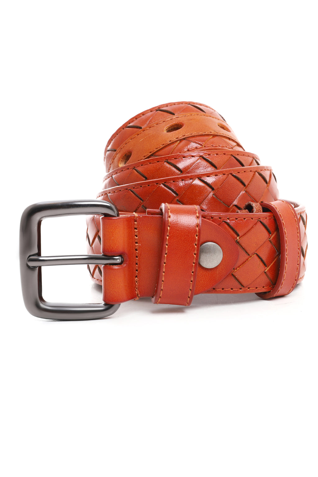 LEATHER WEAVE BELT-TAN