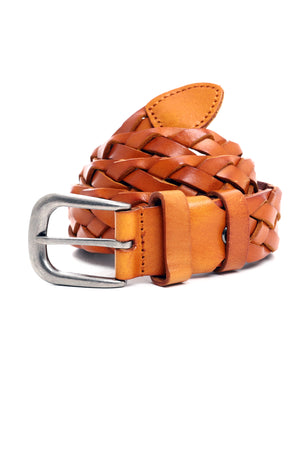 BRAIDED BELT -MUSTARD