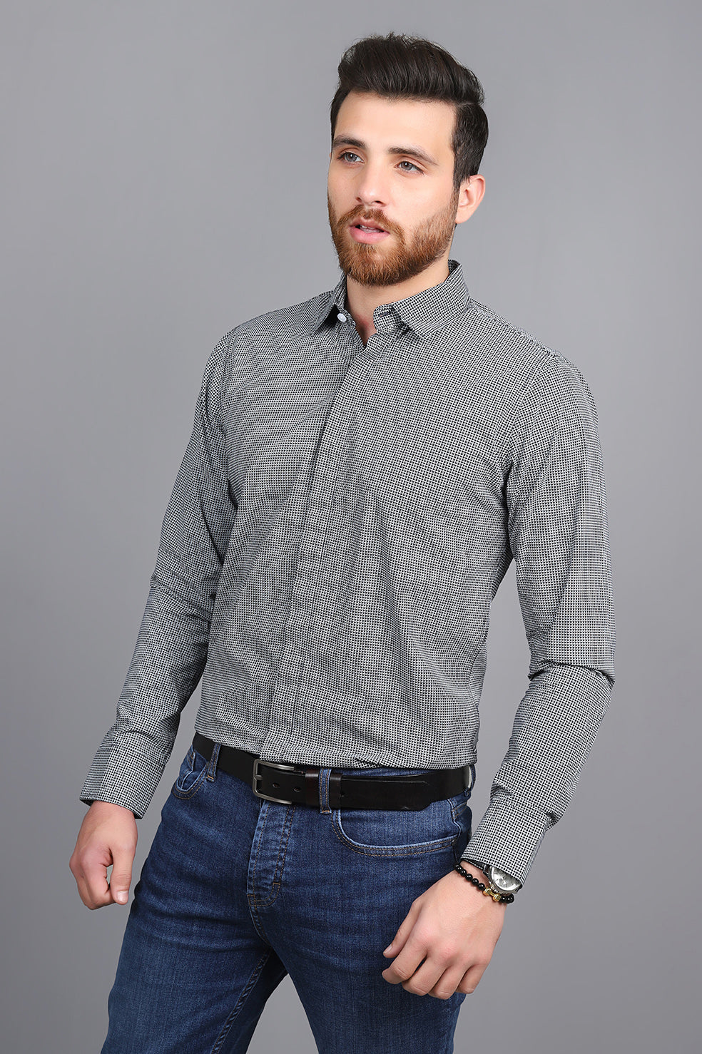 PATTEREND SHIRT-BLACK