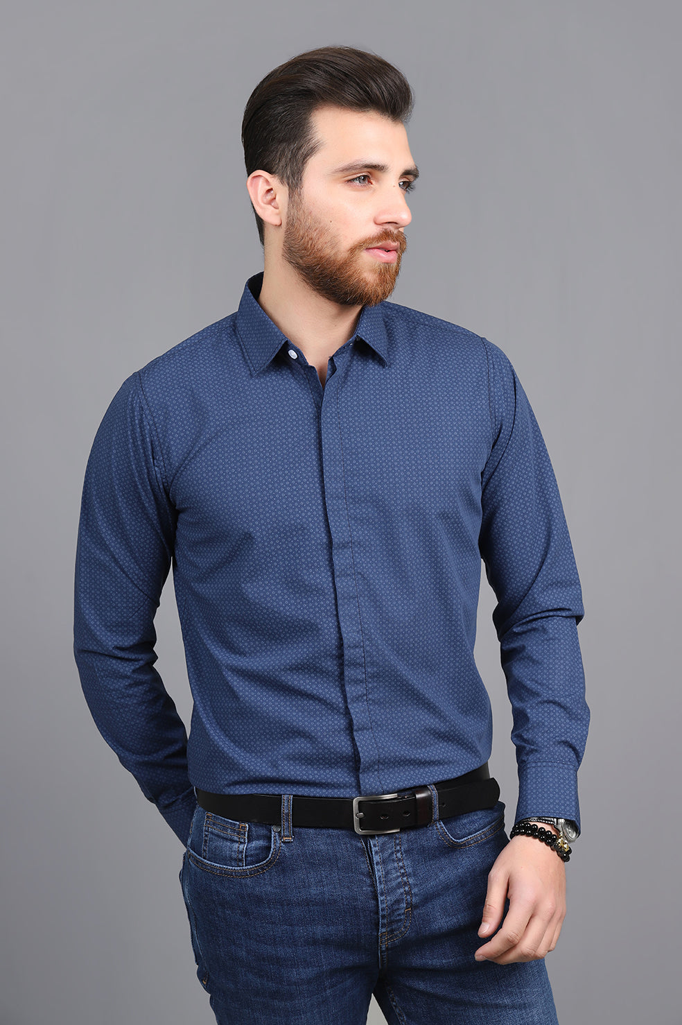 PATTEREND SHIRT-NAVY