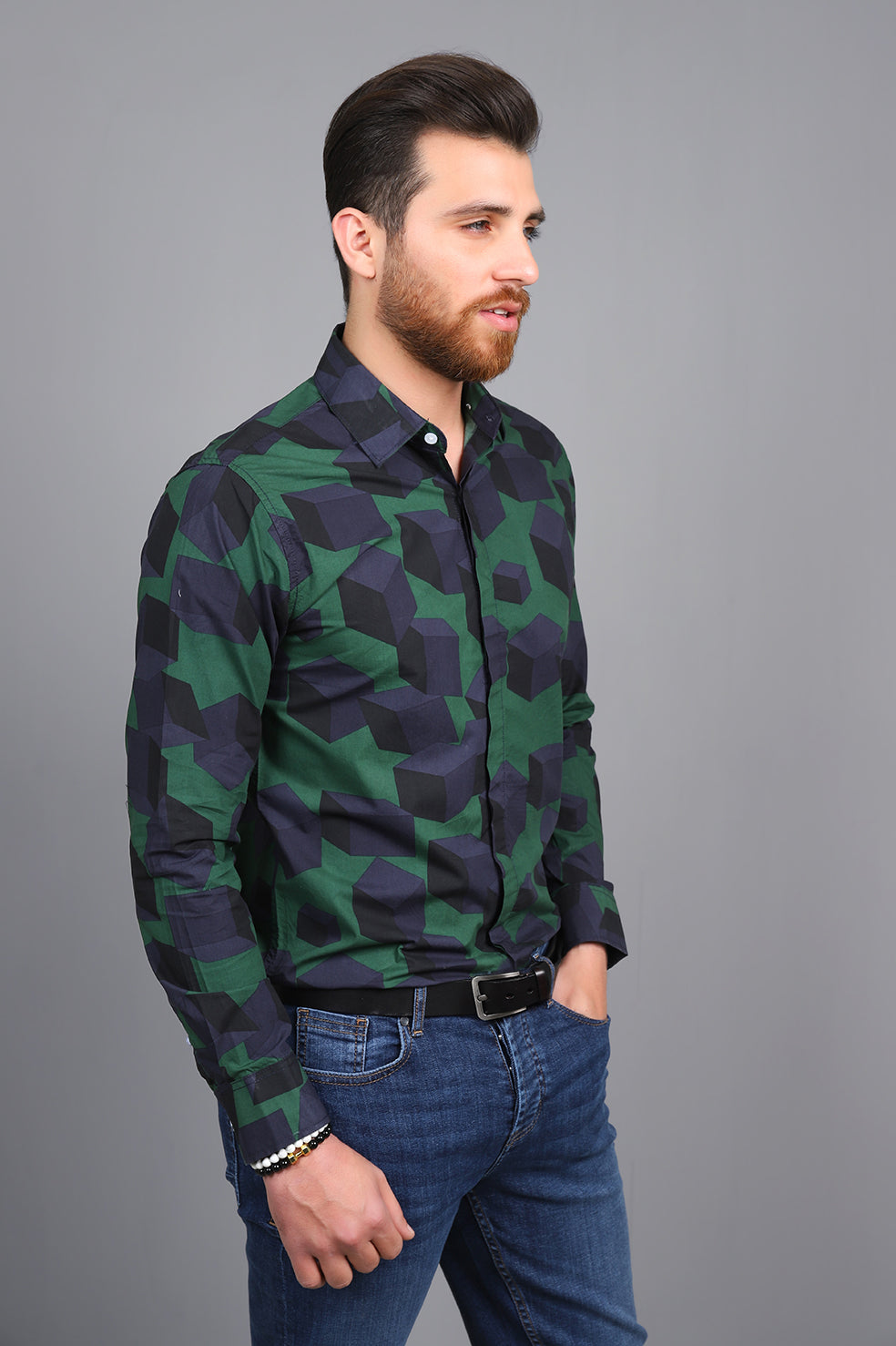 CUBIC PRINTED SHIRT-GREEN-NAVY