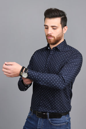 DOTTED SHIRT-NAVY