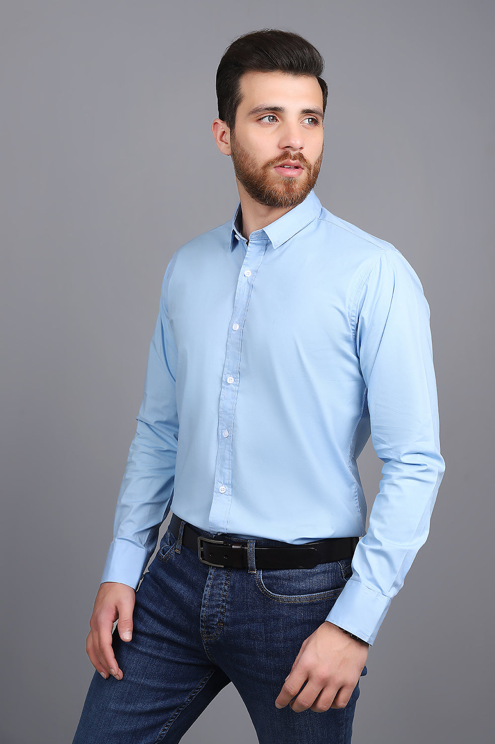 TAILORED-FIT SHIRT-LIGHT-BLUE