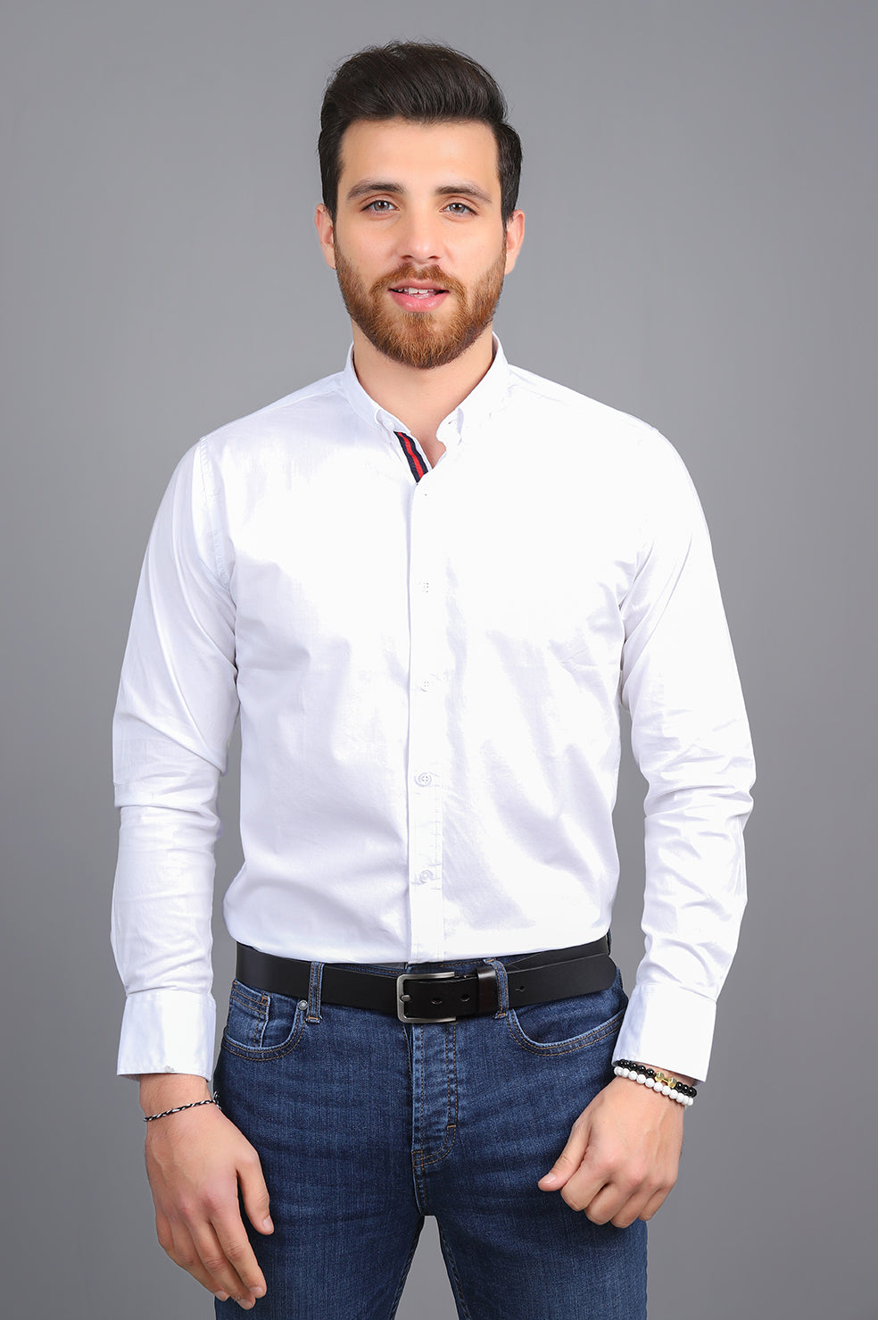 SPORTS STRIPE SHIRT-WHITE