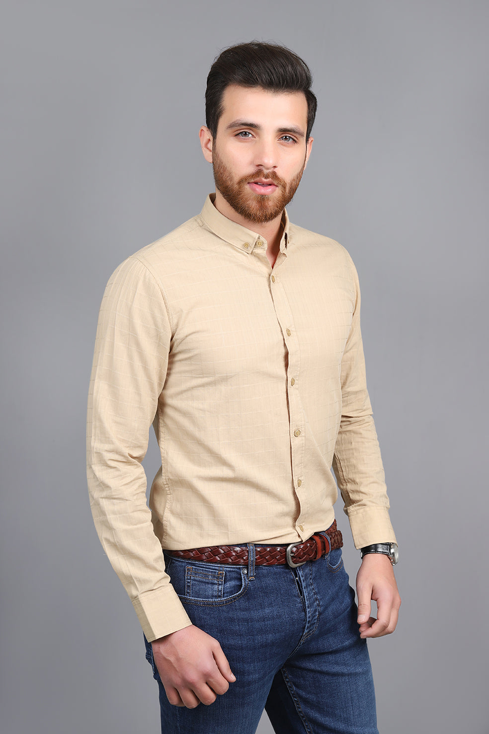 CHECK EMBOSSED SHIRT-BEIGE