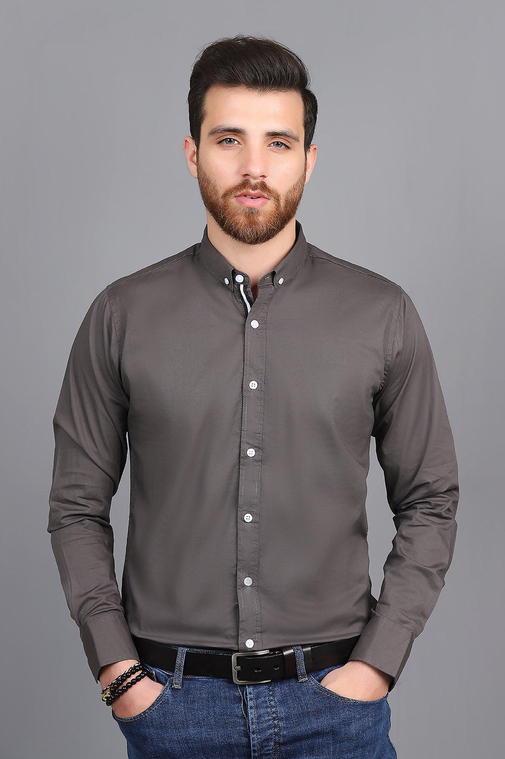 SPORTS STRIPE SHIRT-DARK-GREY