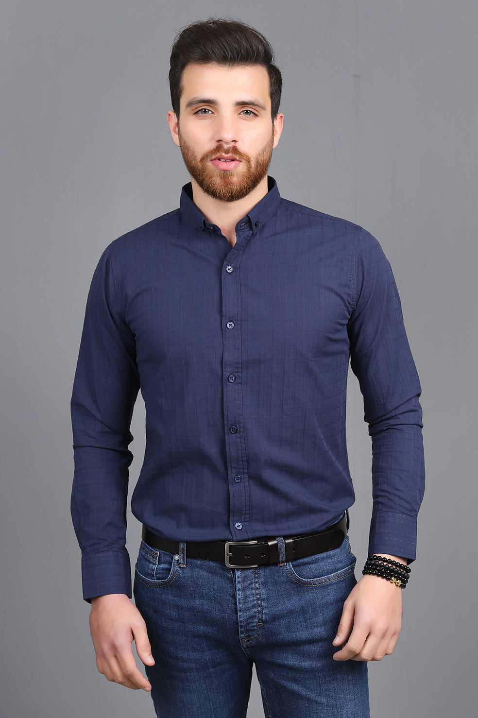 CHECK EMBOSSED SHIRT-NAVY