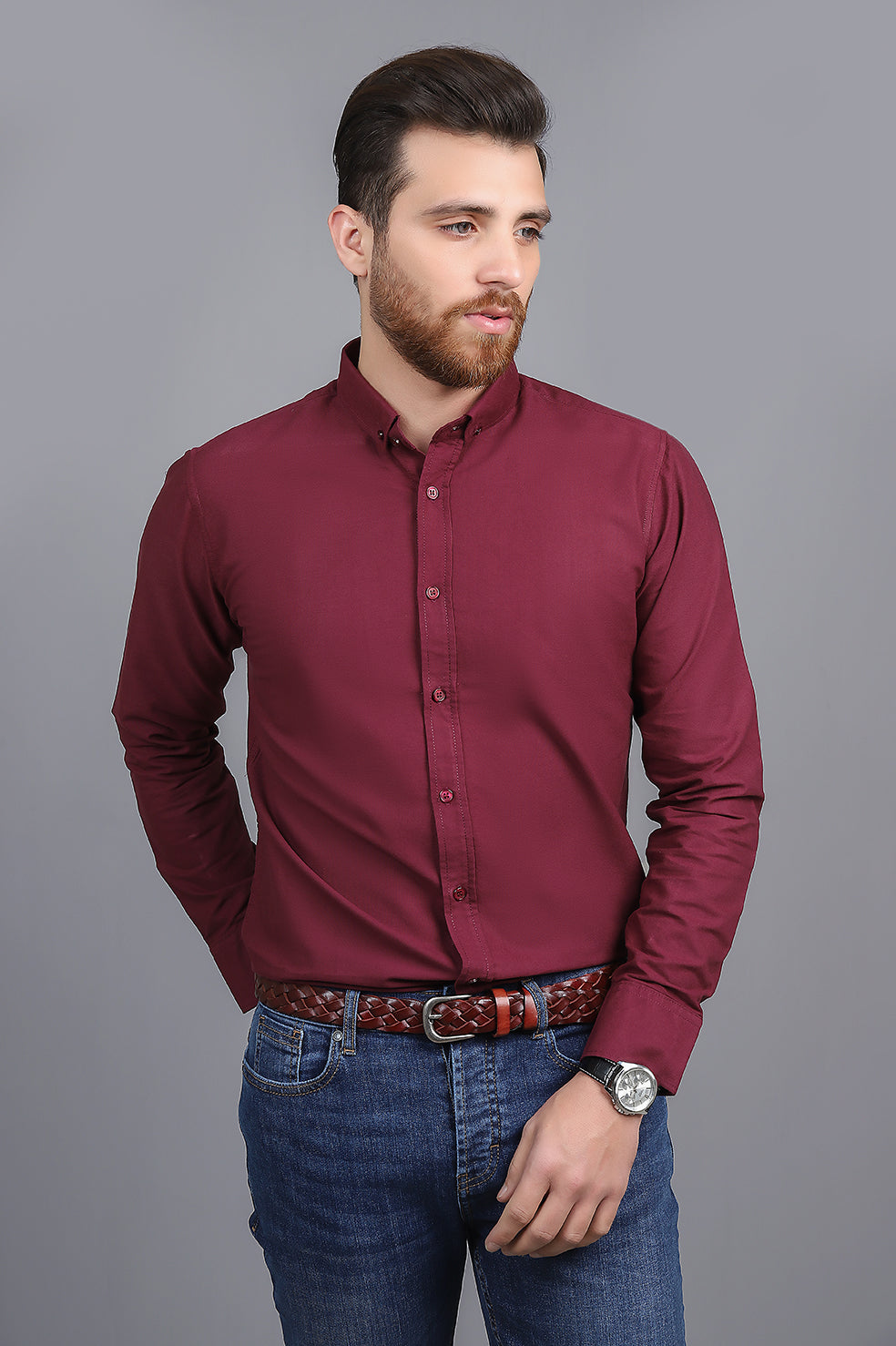 TAILORED-FIT SHIRT-MAROON