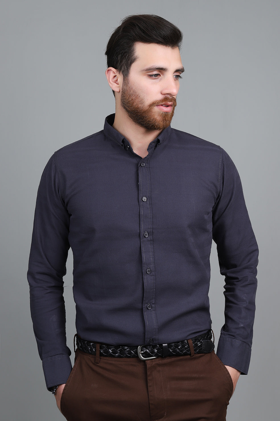 TAILORED-FIT SHIRT-BLACK