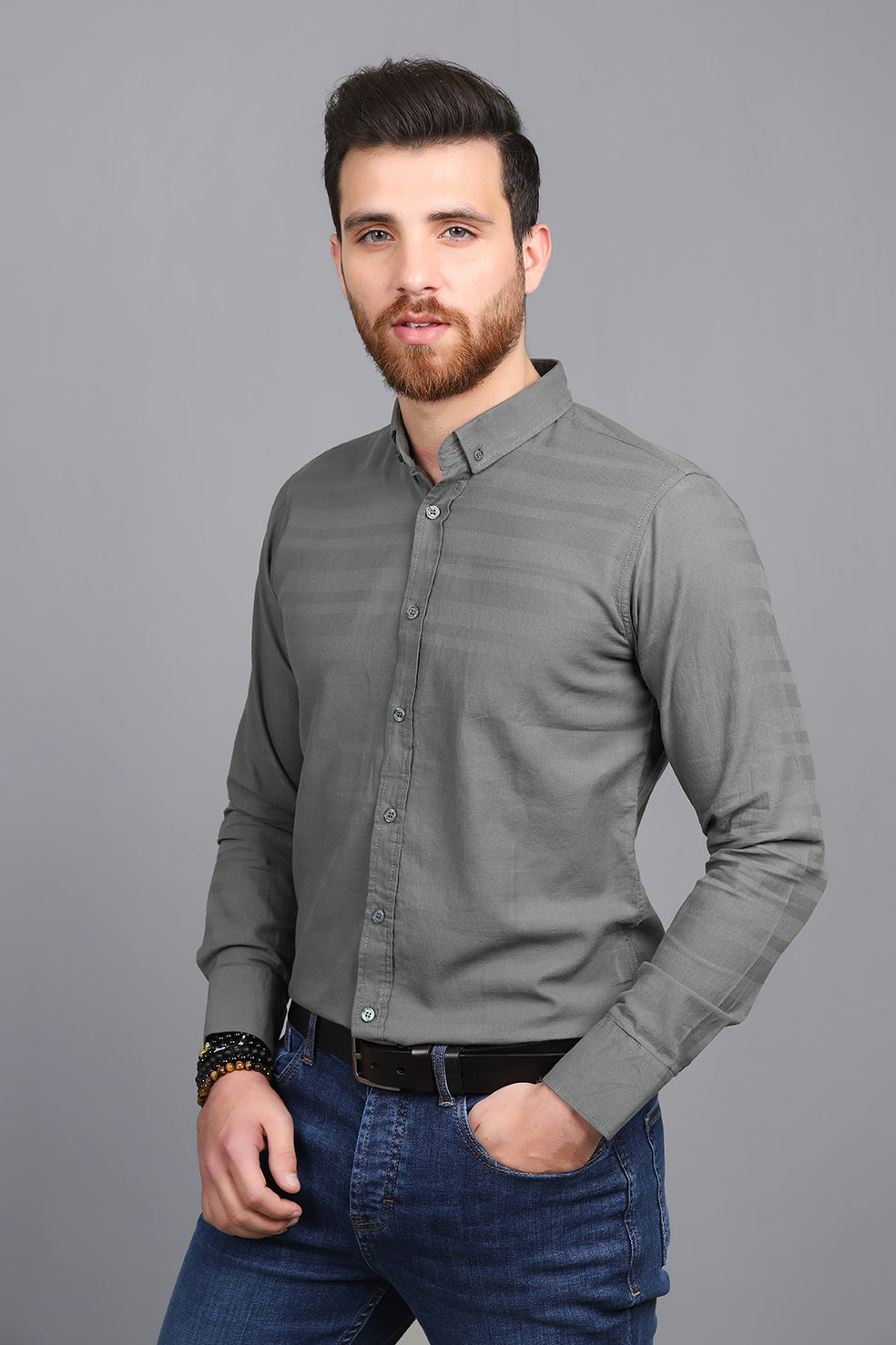 STRIPE EMBOSSED SHIRT-GREEN