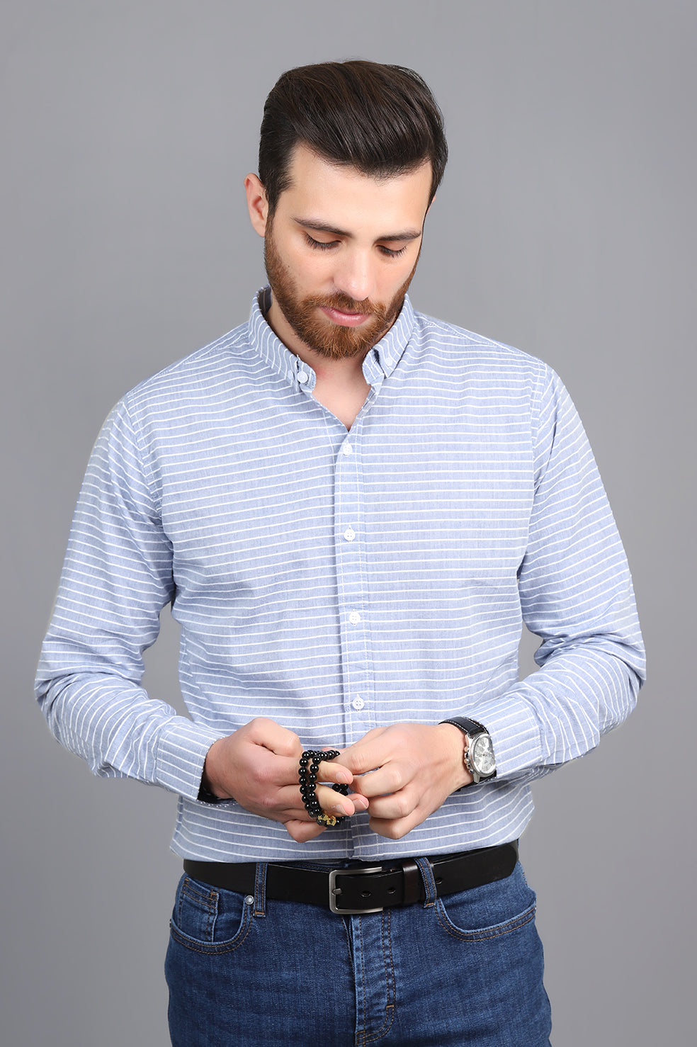STRIPED SHIRT-LIGHT-BLUE