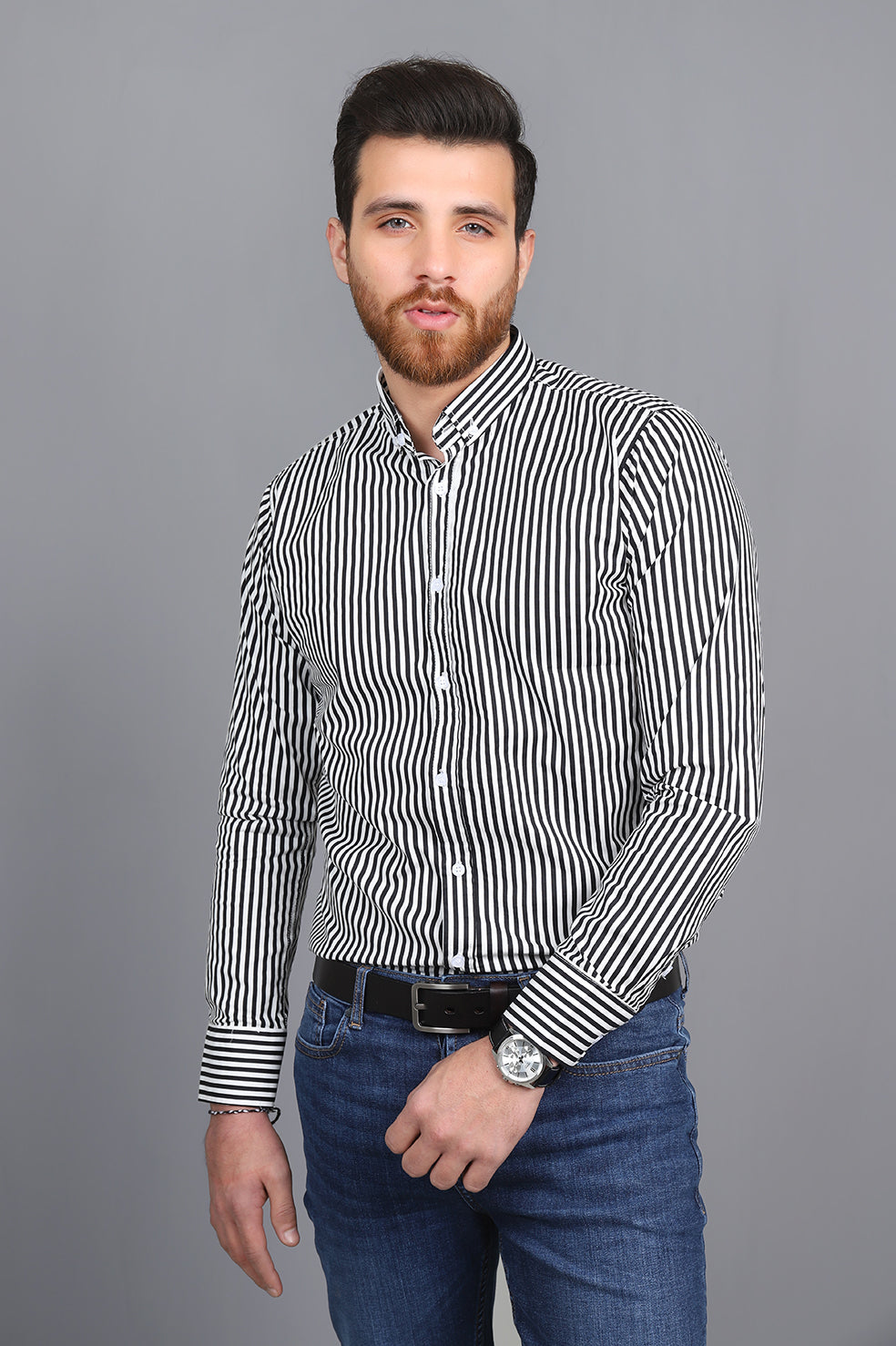 STRIPED SHIRT-BLACK-WHITE
