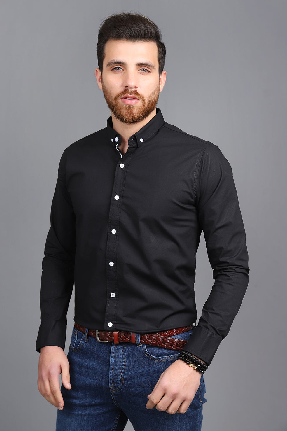 SPORTS STRIPE SHIRT-BLACK