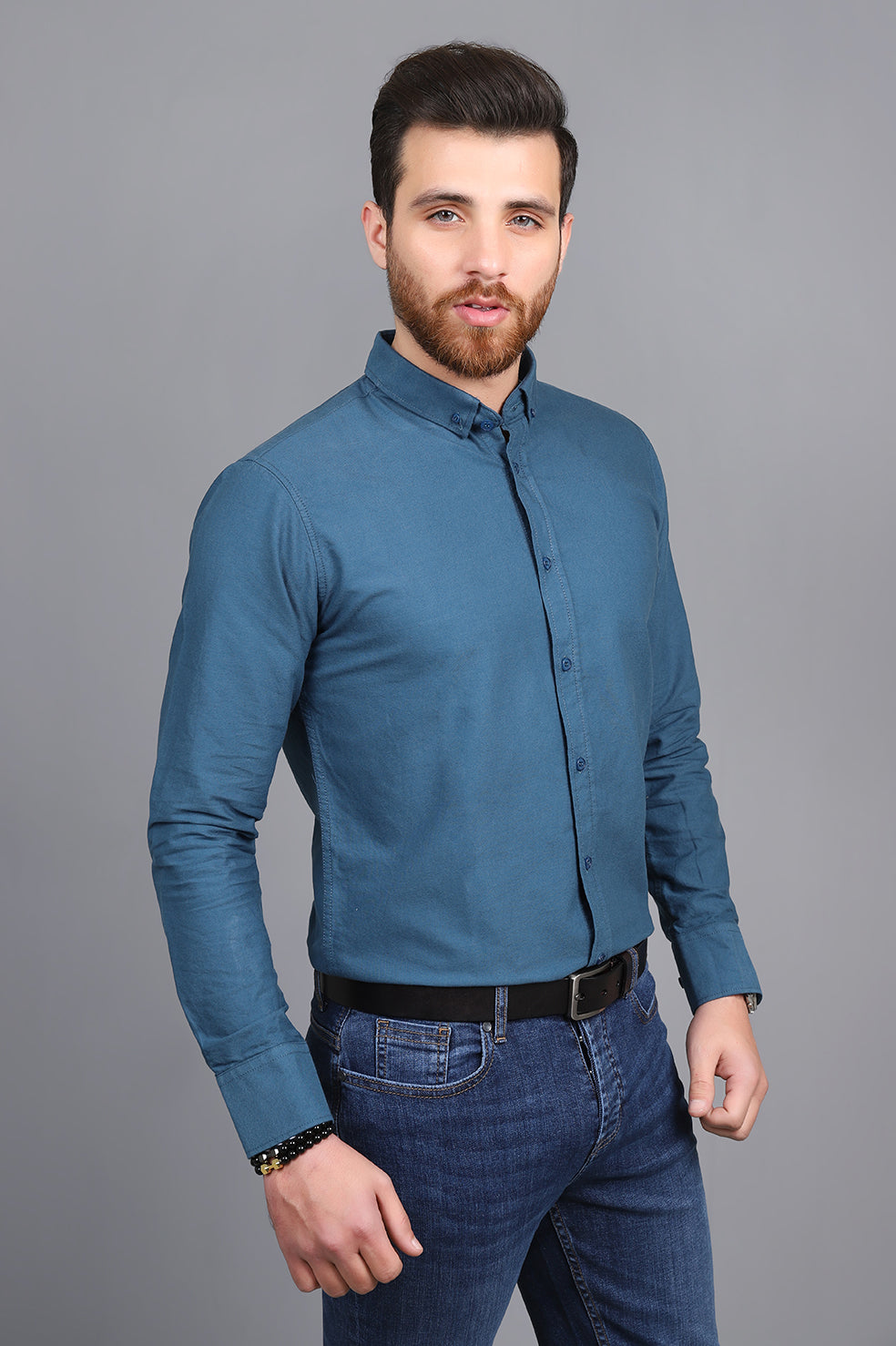 TAILORED-FIT SHIRT-BLUE