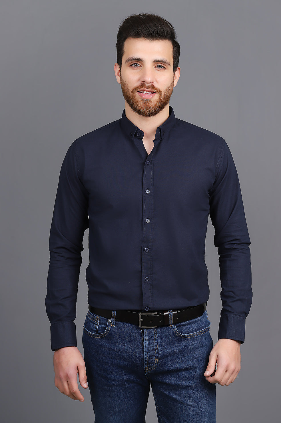 TAILORED-FIT SHIRT-NAVY