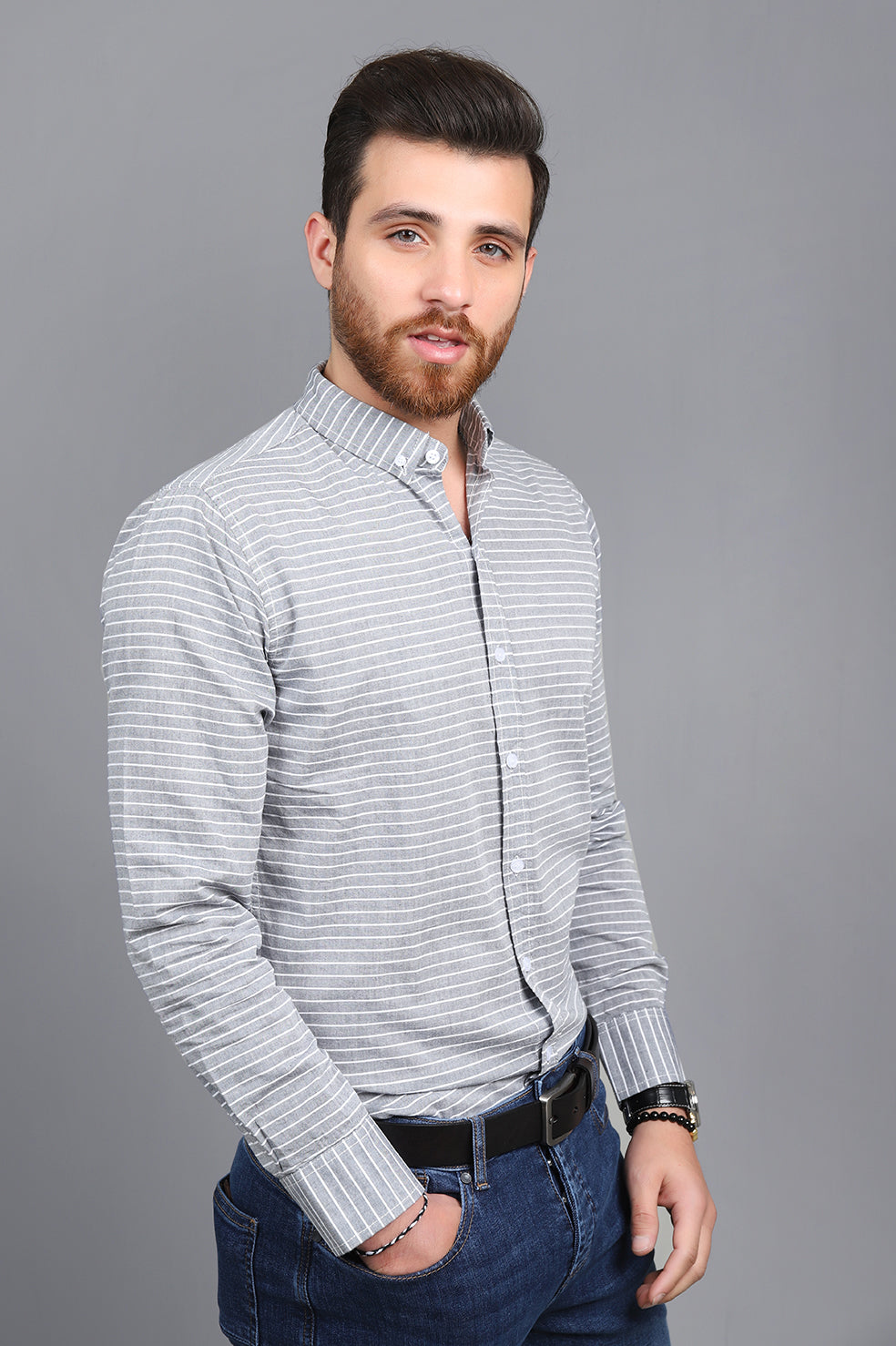 STRIPED SHIRT-LIGHT-GREY