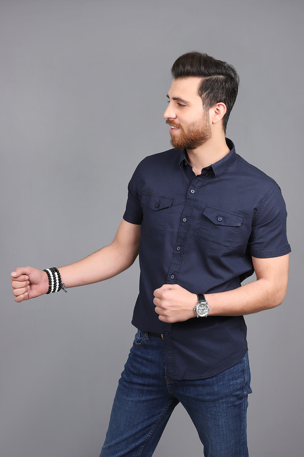 SHORT SLEEVES SHIRT-NAVY