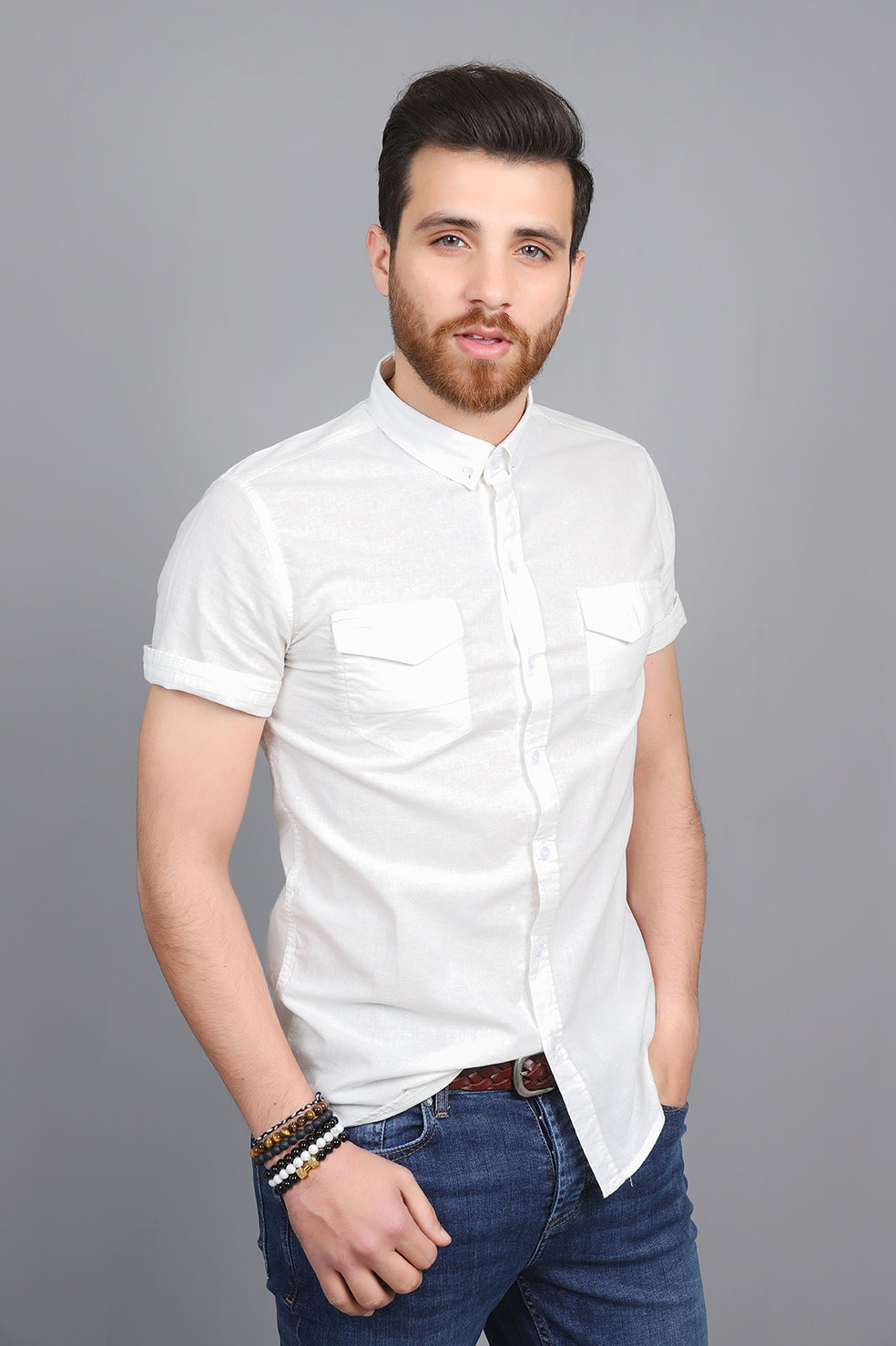 SHORT SLEEVES SHIRT-WHITE