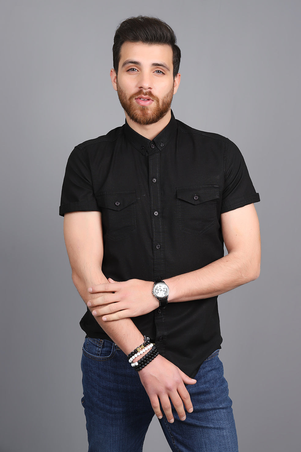 SHORT SLEEVES SHIRT-BLACK