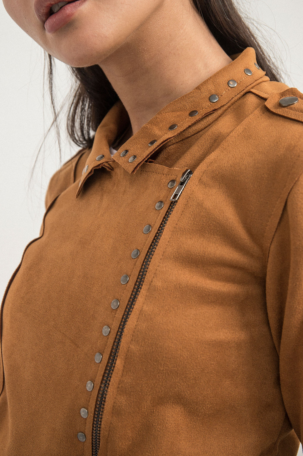 STUDDED SUEDE JACKET-BROWN