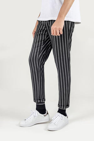 PIN STRIPE PANT-DARK GREY
