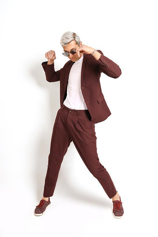 MAROON CHECKERED PANT-JUJUBE RED