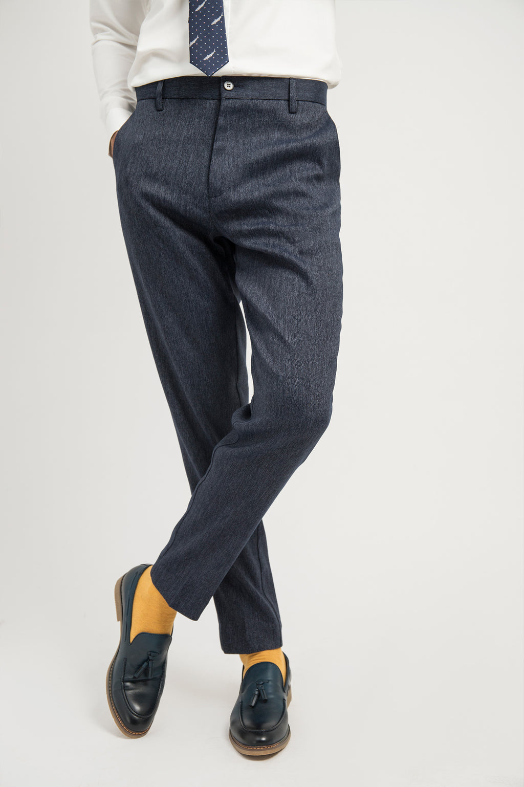TEXTURED TROUSERS-NAVY