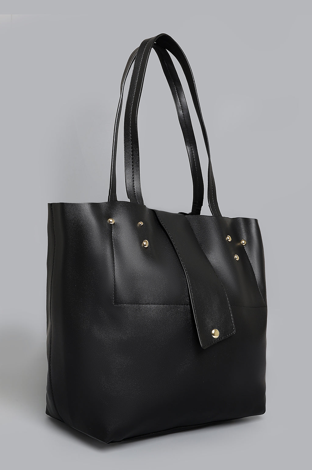 LEATHER TOTE-BLACK
