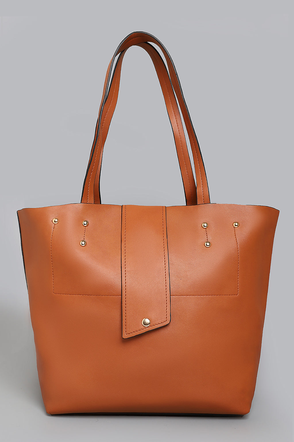 LEATHER TOTE-BROWN