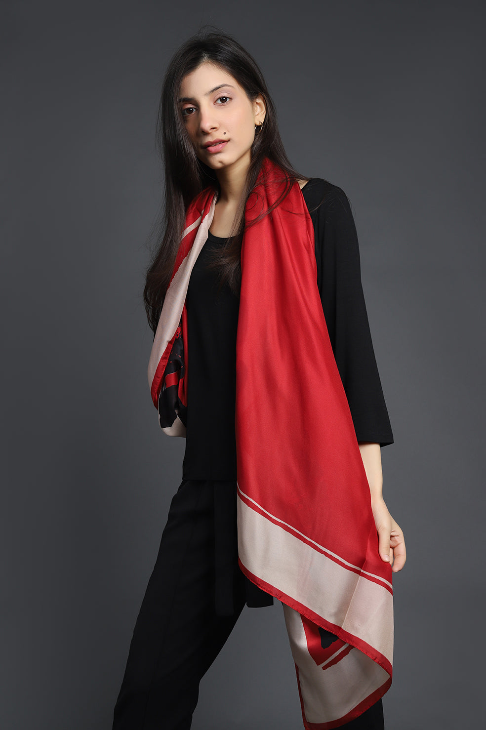 PRINTED SILK SCARF-RED