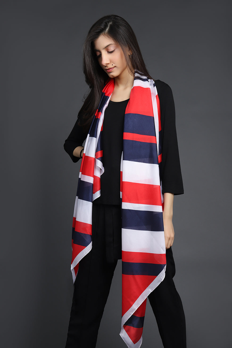 PRINTED SILK SCARF-RED-NAVY