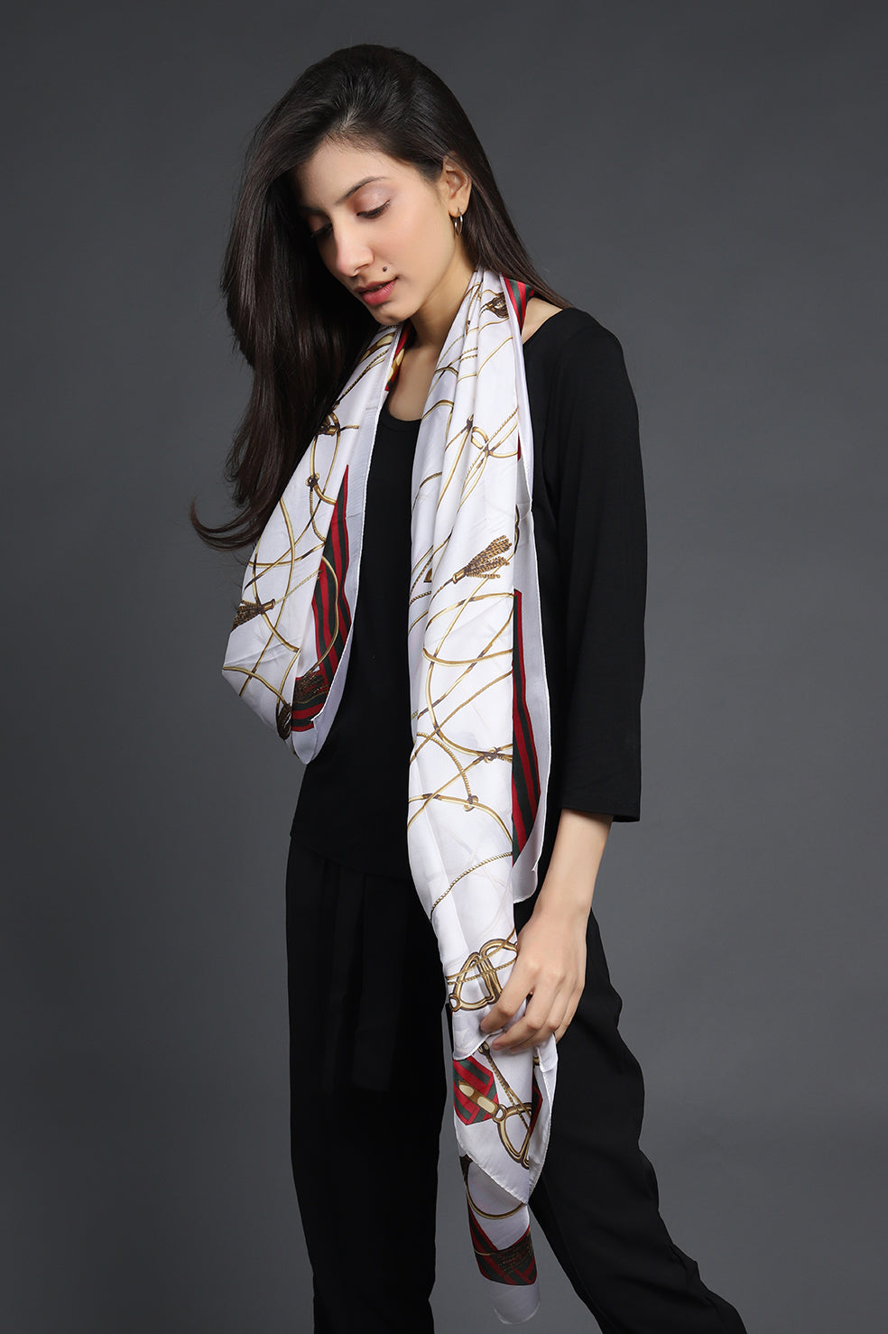 PRINTED SILK SCARF-OFFWHITE