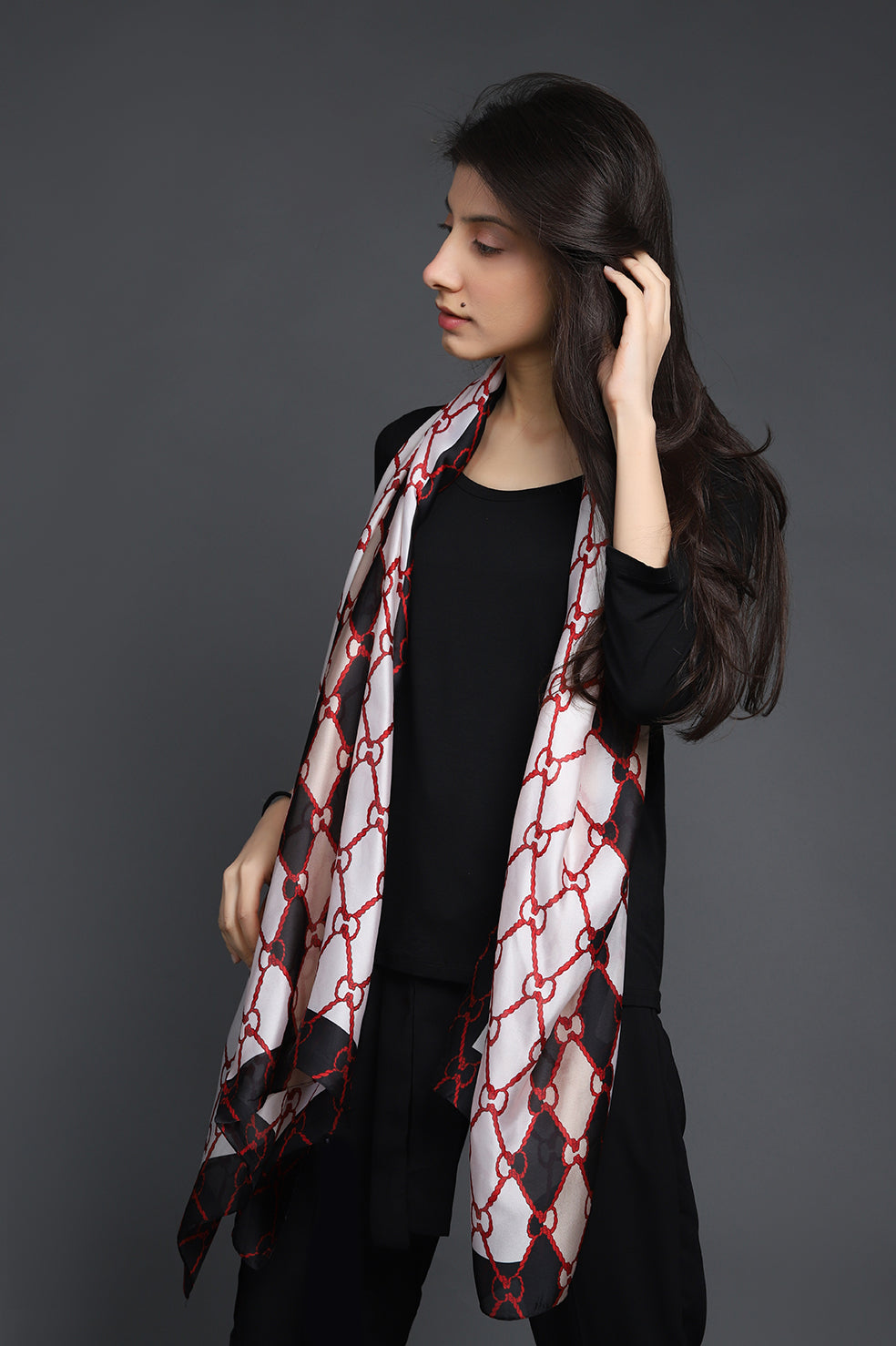 PRINTED SILK SCARF-OFFWHITE-RED