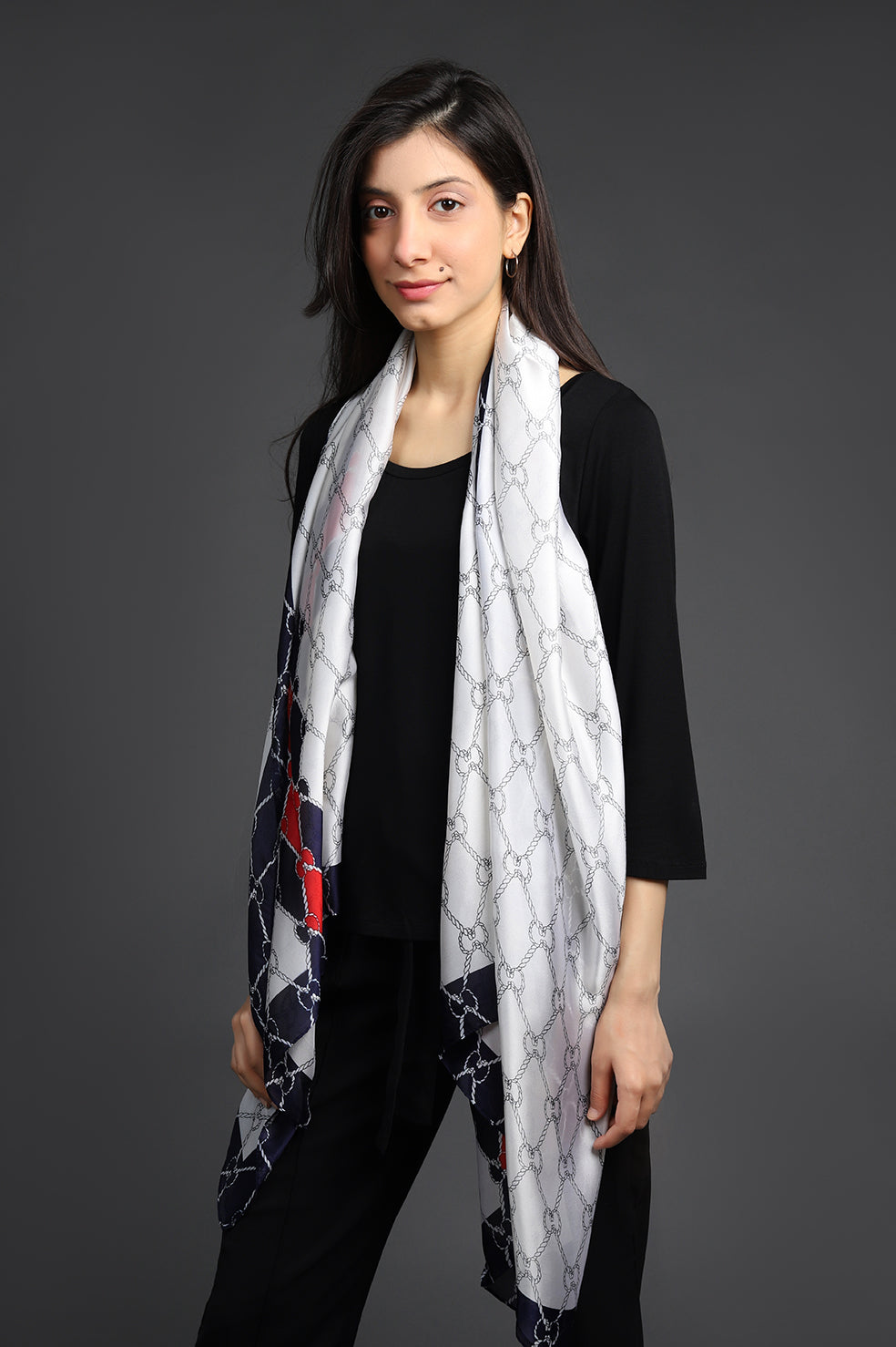 PRINTED SILK SCARF-OFFWHITE-NAVY