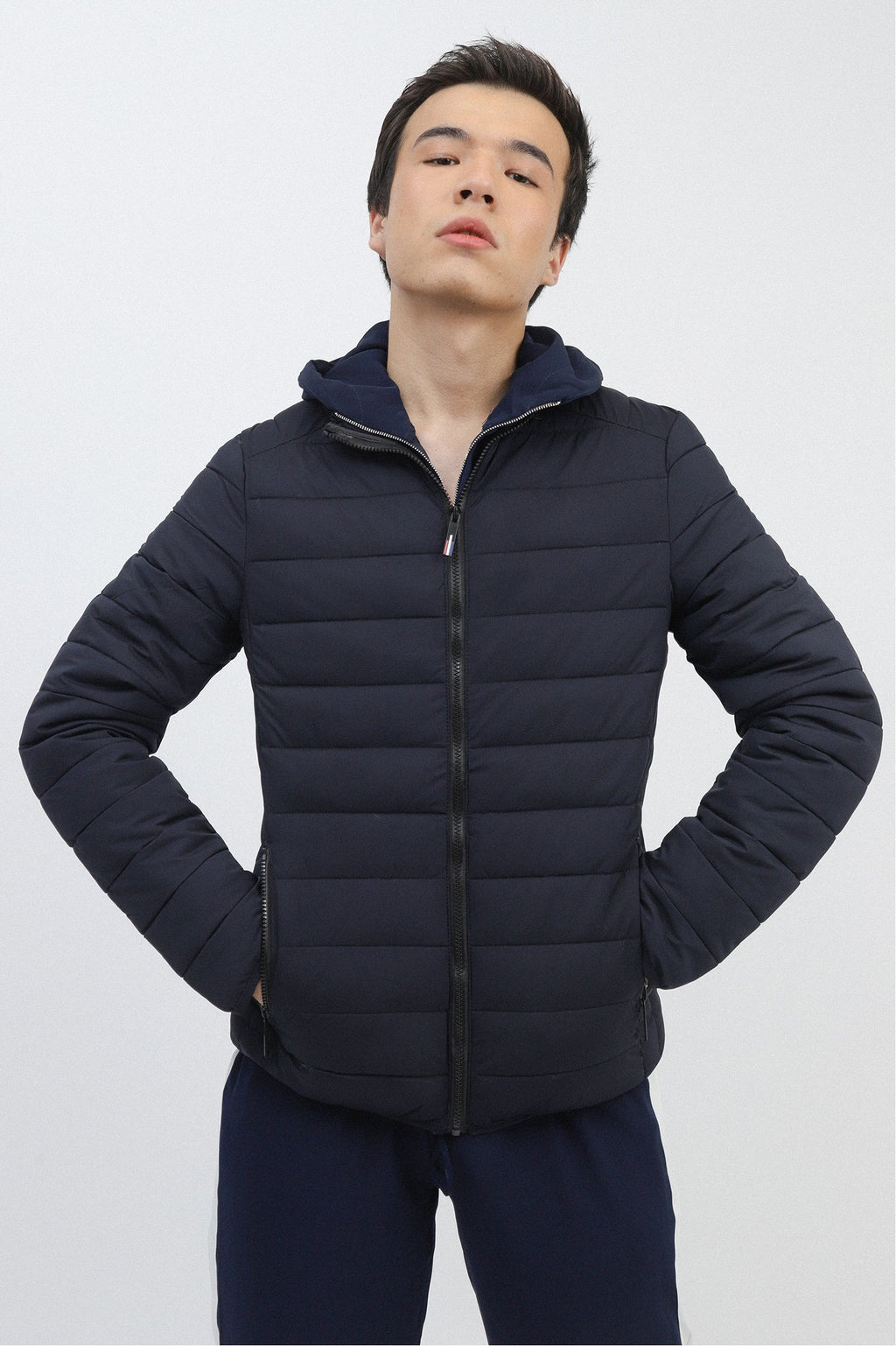 QUILTED FUR JACKET-NAVY