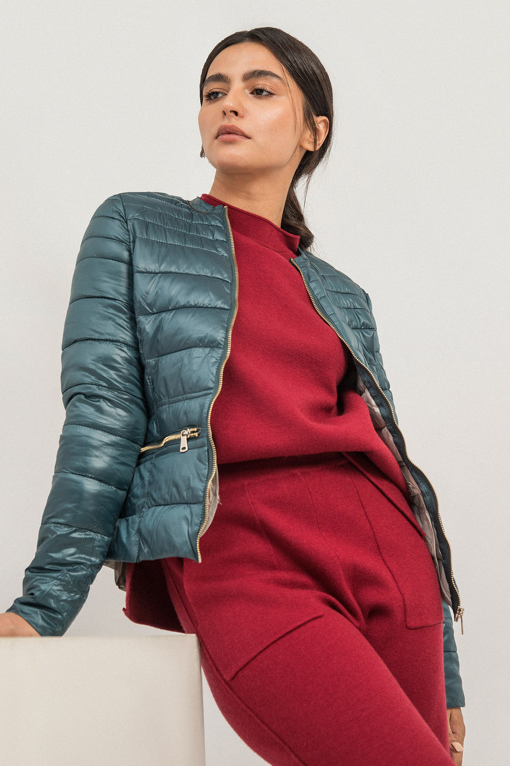 GLOSS QUILTED PUFFER-GREEN