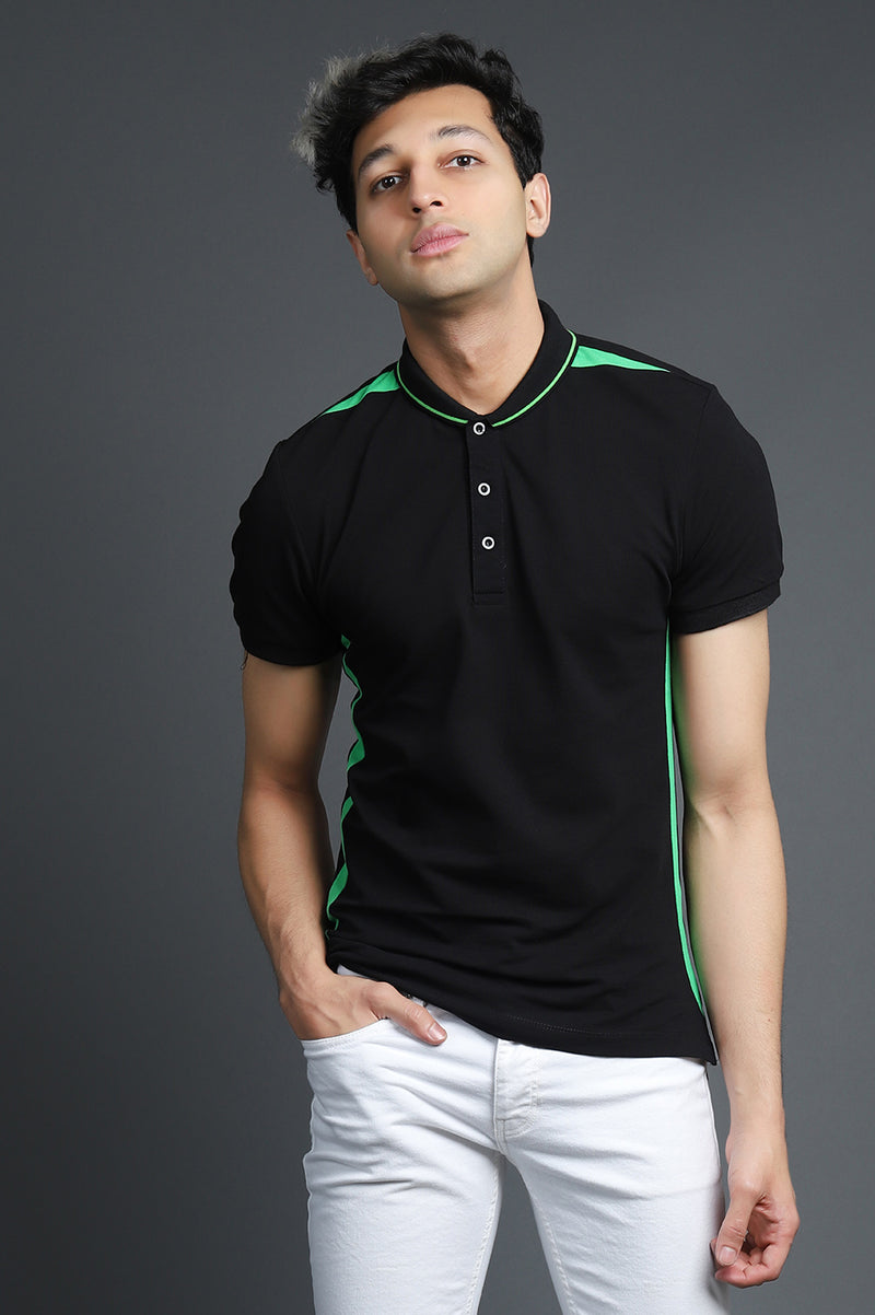 NEON STRPE POLO-BLACK-GREEN