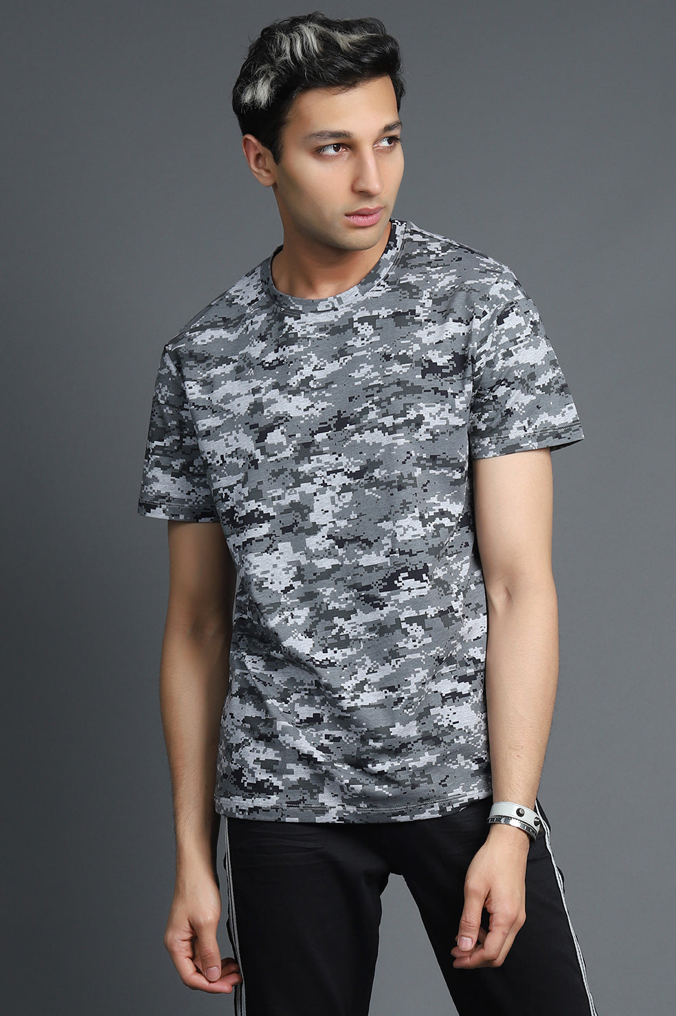 DIGITAL PRINT TSHIRT-DARK GREY