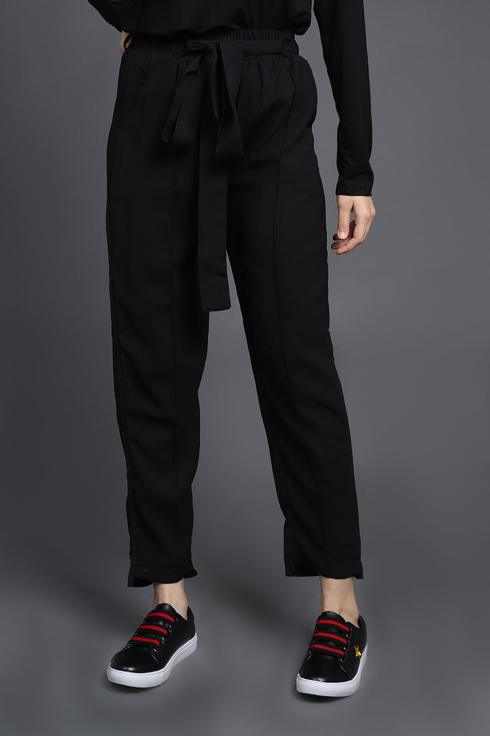 TAPERED PANTS-BLACK