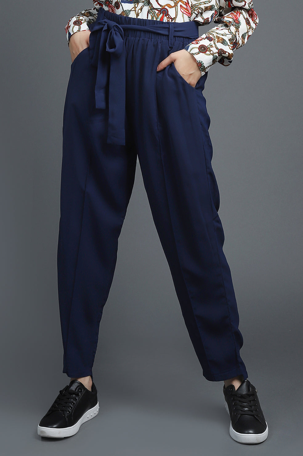 TAPERED PANTS-NAVY