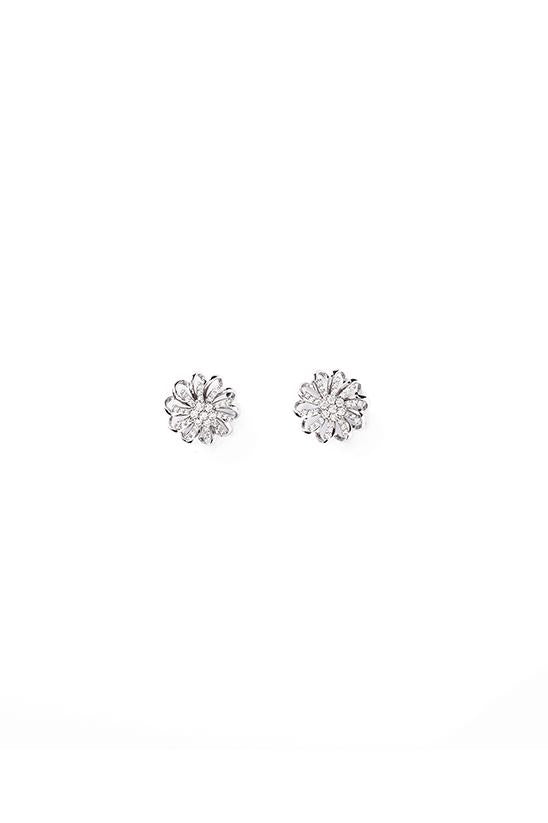 FLORAL STUDS-SILVER