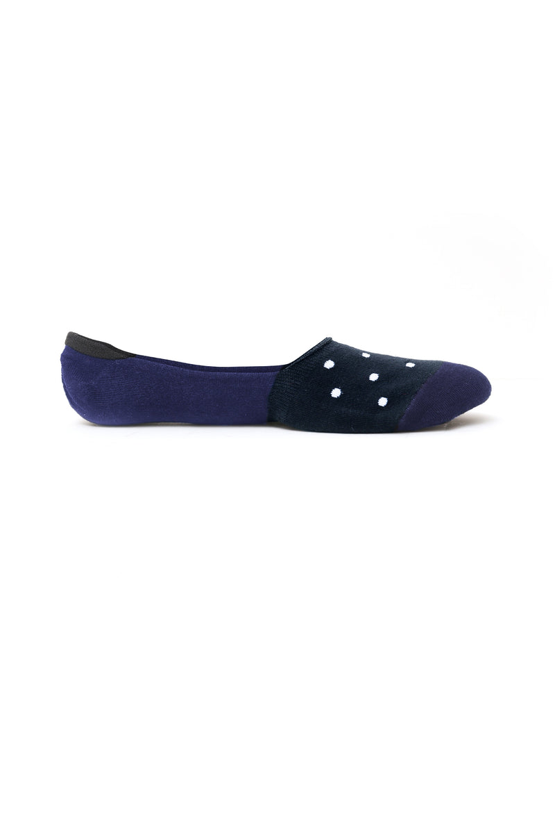 NO SH0W SOCKS-NAVY-WHITE DOTS