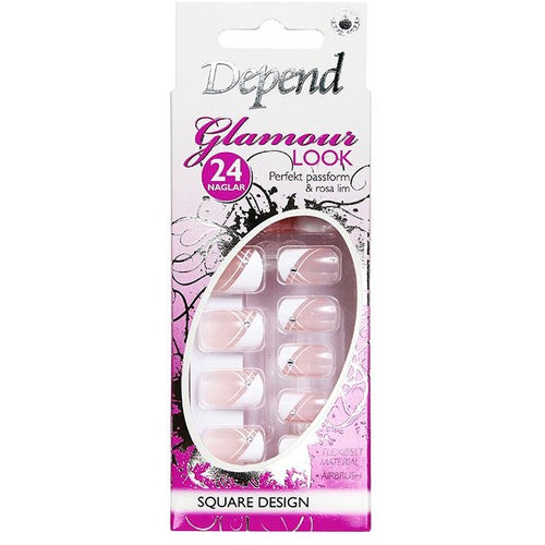 NAIL KIT GLAMOUR LOOK, Square French Rebell