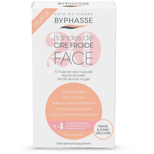 Cold Wax Strips Face & Delicate Areas, For Sensitive Skin (20 Strips + 4 Wipes) - Crystal Cosmetics e-Store