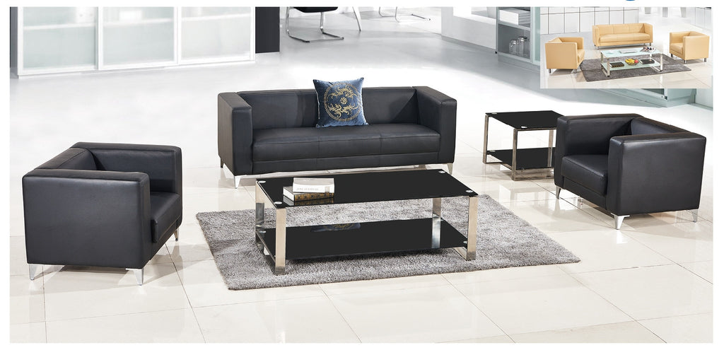 Stylish Design Office Furniture Xipi Leather Sofa Set With Stainless  Steel Frame 6827,6919,